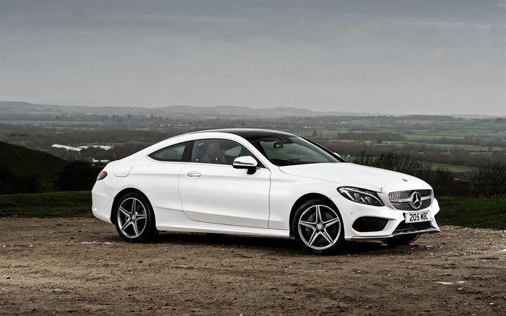 Mercedes-Benz C-Class, 2017, AMG, C205, White Mercedes, Coupe, German cars, Mercedes