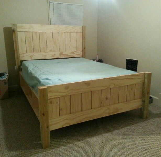 farmhouse bed with storage unfinished added round overs to inside boards to make the lines more defined routering a design into the top head and toe boards