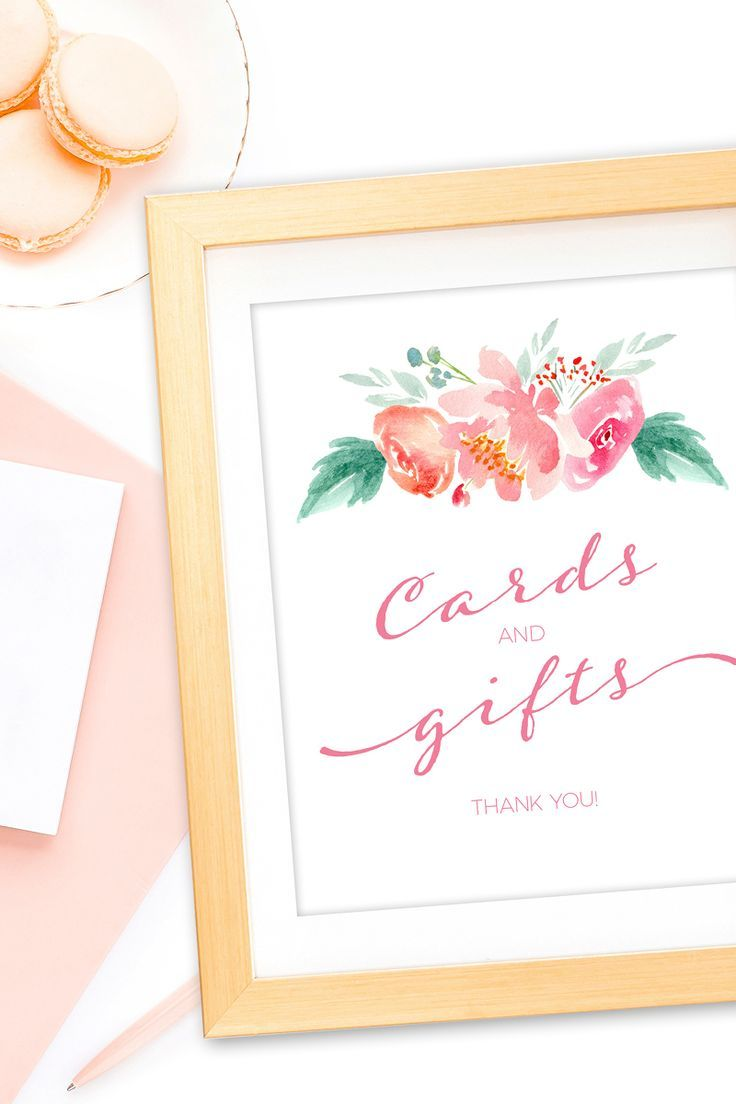 floral cards and gifts sign pink bridal shower gift table sign printable bridal shower cards and gifts sign instant download bridal shower cards