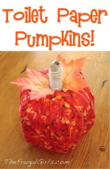 Toilet Paper Pumpkins! ~ from TheFrugalGirls.com ~ this fun little Fall craft comes together in a snap! #pumpkin #crafts