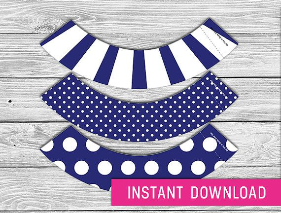 Printable Cupcake Wrapper  Navy Blue instant by PurdyPrintsNYC, $3.99