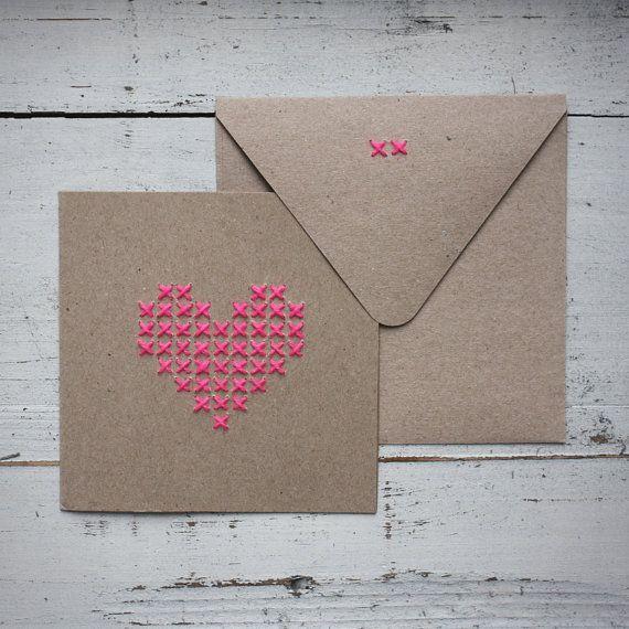 Greeting Card Stitched Heart van StofferBlik