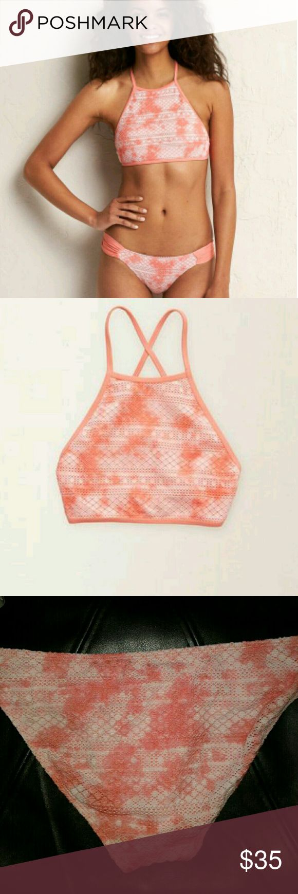 Aerie pink knit two piece Tie dye pink knit  Brand new never worn  Racerback  Tanga bottom Top is medium bottom is large but runs small  Cheaper on Merc aerie Swim Bikinis