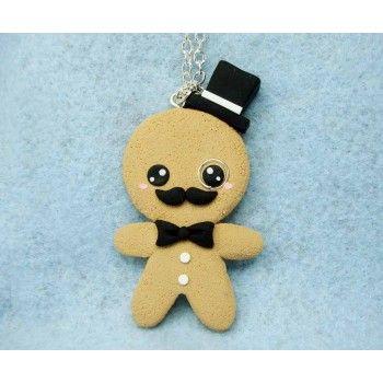 Gingerbread Gentleman,fimo, handmade,hecho a mano,polymer clay,collar,necklace,cadena,chain,galleta jengibre,cookie,
