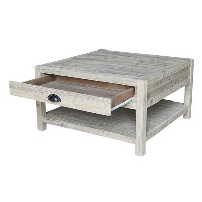 Modern Rustic Square Coffee Table Gray Wash International Concepts Rustic Square Coffee Table Coffee Table Grey Rustic Bedroom Furniture