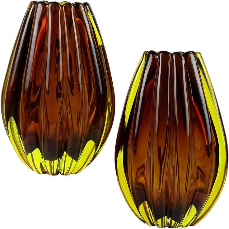 Flavio Poli Seguso Vetri D'Arte Murano Sommerso Italian Art Glass Flower Vases   From a unique collection of antique and modern vases and vessels at https://www.1stdibs.com/furniture/decorative-objects/vases-vessels/