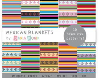 "Mexican Blankets Digital Paper Pack-colorful striped papers, scrapbooking, eps, jpeg, 12"" x 12"", instant download"