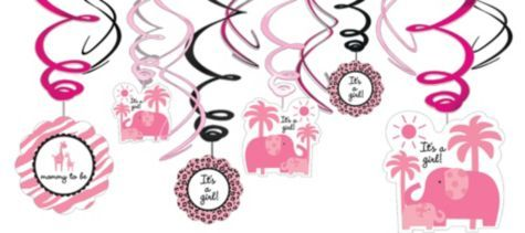 Pink Safari Baby Shower Swirl Decorations Party City