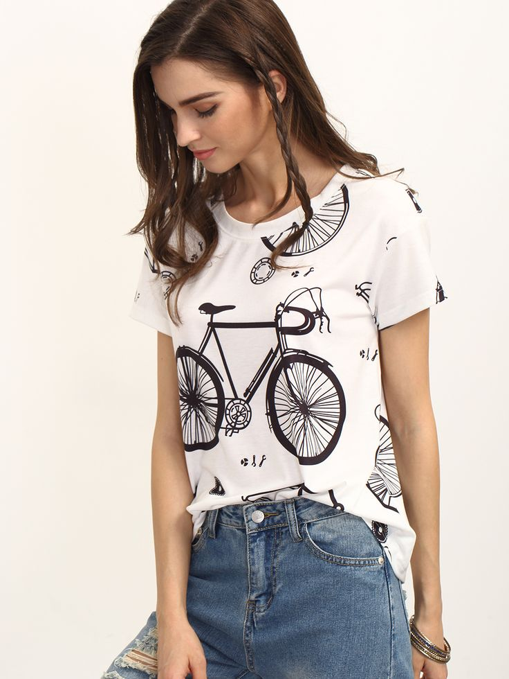 Shop Black and White Bike Print Short Sleeve T-shirt online. SheIn offers Black and White Bike Print Short Sleeve T-shirt & more to fit your fashionable needs.