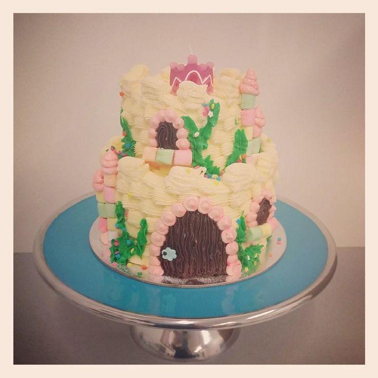 Cream Two Tier Fairy Castle Cake