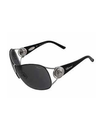 23K+Metal+Frame+Shield+Sunglasses,+Palladium/Violet+by+Chopard+at+Neiman+Marcus+Last+Call.