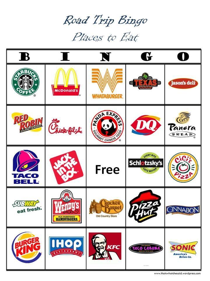 Fast food/restaurant bingo for car trips. Road trip