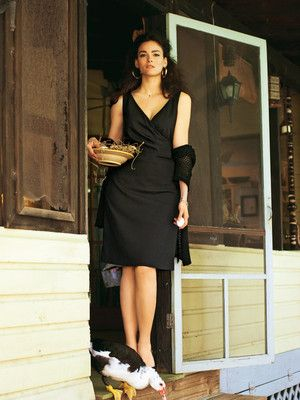 Kleid - Wickeloptik, knielang
