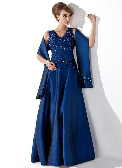 0c51941a03a A-Linie Princess-Linie V-Ausschnitt Bodenlang Taft Kleid für die  Brautmutter mit Spitze Perlstickerei Pailletten -  ALiniePrince…