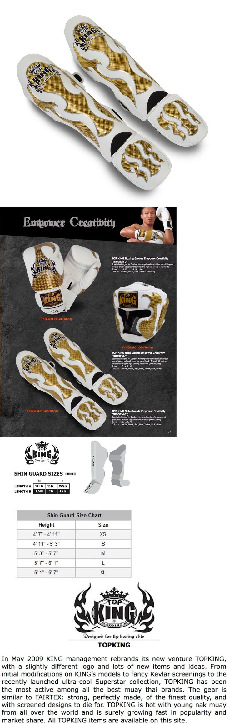 Shin Guards 179782: Top King Empower Creativity Muay Thai Shin Guards-Tksgem-01-Wh(Gold) -Leather! -> BUY IT NOW ONLY: $99.95 on eBay!
