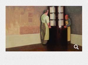 Wegtragen der Eckvitrine, 2011. Öl auf Leinwand, 92 x 112 cm. Barbara Loftus | Ephraim-Palais