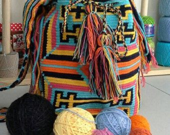 Wayuu Mochila Bag / Crossbody Bag/Orange, Yellow, Light Blue, Guava, and Black/