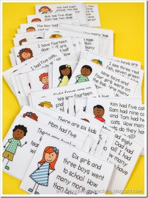 Word Problems Unit: 72 colored and black and white problem cards. perfect for common core practice.. can be used in math centers and math journals. kindergarten, first and second grade