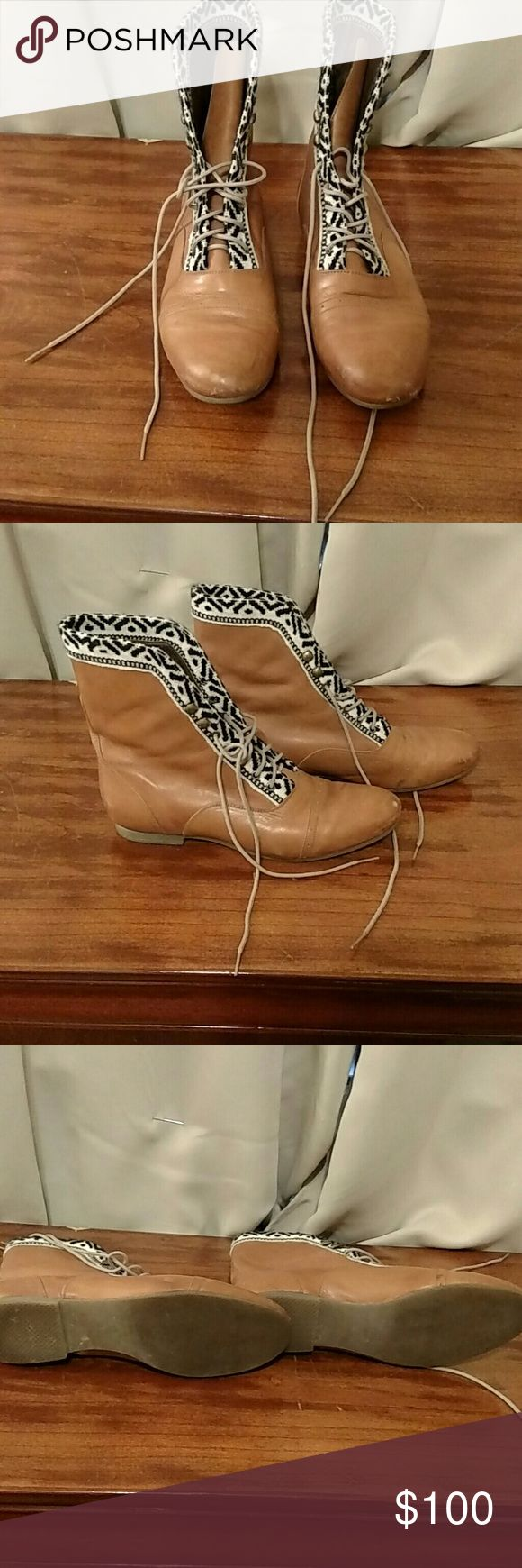 Fortress of Inca Tan booties Lovely honey tan leather boots with cloth trim,they do have a bit of scuffing on the tip of the boot but a bit of shoe polish would remedy that.They are a size 9 and fit me a little bit big.Feel free to make an offer! Freshly polished! fortress of Inca Shoes Ankle Boots & Booties