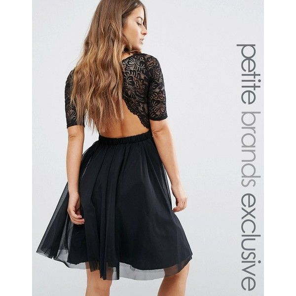 John Zack Petite Lace Bodice Midi Prom Dress With Cut Out Detail ($56) ❤ liked on Polyvore featuring dresses, black, petite, cut-out back dresses, petite prom dresses, midi cocktail dress, cocktail prom dress and lace prom dresses