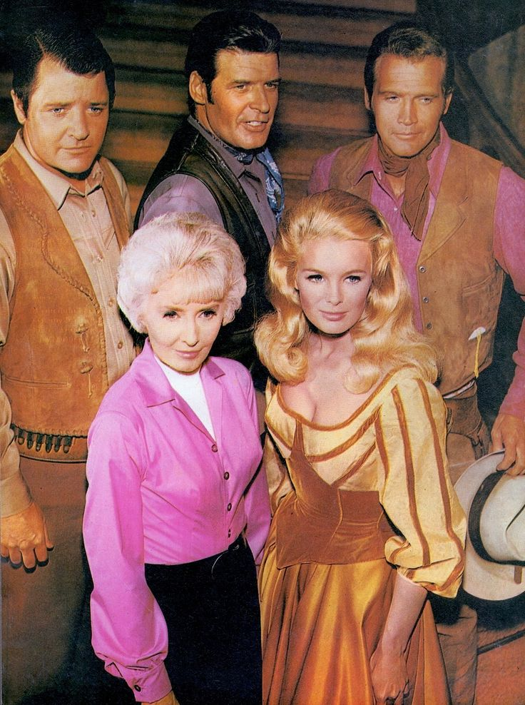 THE BIG VALLEY (TV Week Australia Oct 5 1968) tv western 4 seasons from 1965-69. From left to right bottom, Barbara Stanwyck (legendary actress), Linda Evans (Dynasty), top. Richard Long (The Nanny & the Professor), Peter Breck & Lee Majors (The Six Million Dollar Man). Victoria Barkley heads her adult brood on the Barkley Ranch in California's San Joaquin Valley, in the 1870s. (imdb) (please follow minkshmink on pinterest) #thebigvalley #barbarastanwyck #leemajors #lindaevans #western