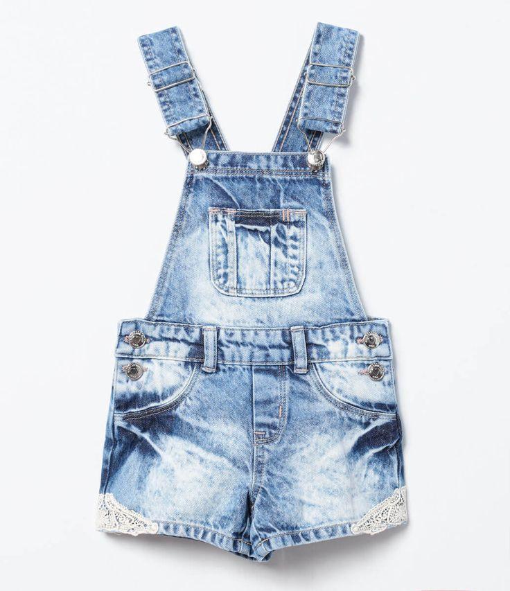 Jardineira infantil com guipir na barra marca p im tecido for Jardineira jeans infantil c a