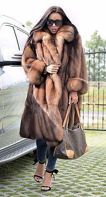 Nouveau barguzin russe sable fourrure libertin Manteau Clas Veste Vison Renard Lynx Chinchilla