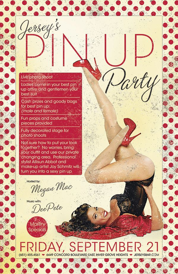 Jerseys Pin Up Party Friday Sept 21st From 8pm - 2am Hosted By Megan Mac
