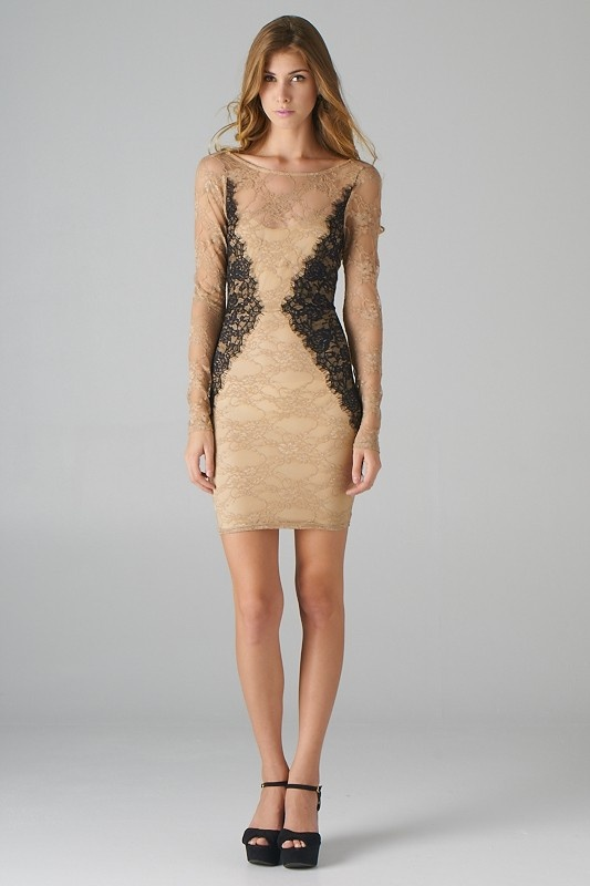 Open Back Lace Dress with black Lace Side Panels (Taupe ...