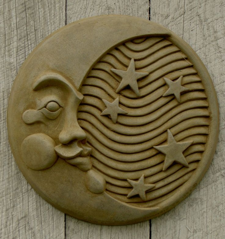 Moon Plaque Garden Decor shown in Natural Finish with Pecan Wash