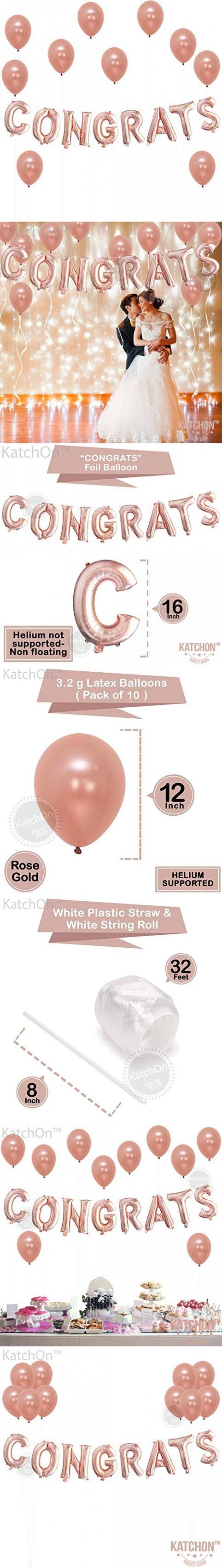 Congrats Rose Gold Balloons Decorations  Great for Graduation Decorations Wedding Bridal Baby Shower Party Supplies | 16 Inch Mylar Foil Letter Balloo...