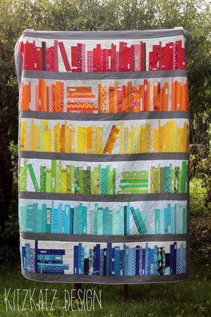 kitzkatz design: Rainbow Bookshelf Quilt                                                                                                                                                      More