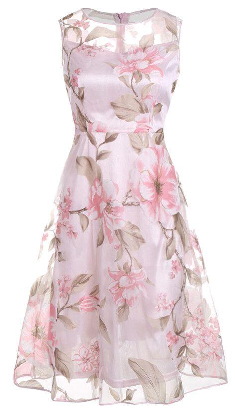 $17.73 Sleeveless Floral Printed Midi Dress - Pink