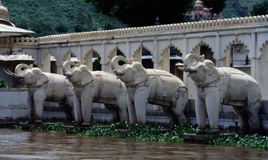 Statues Of Elephants Along The Front Of The Jag Mandir Palace