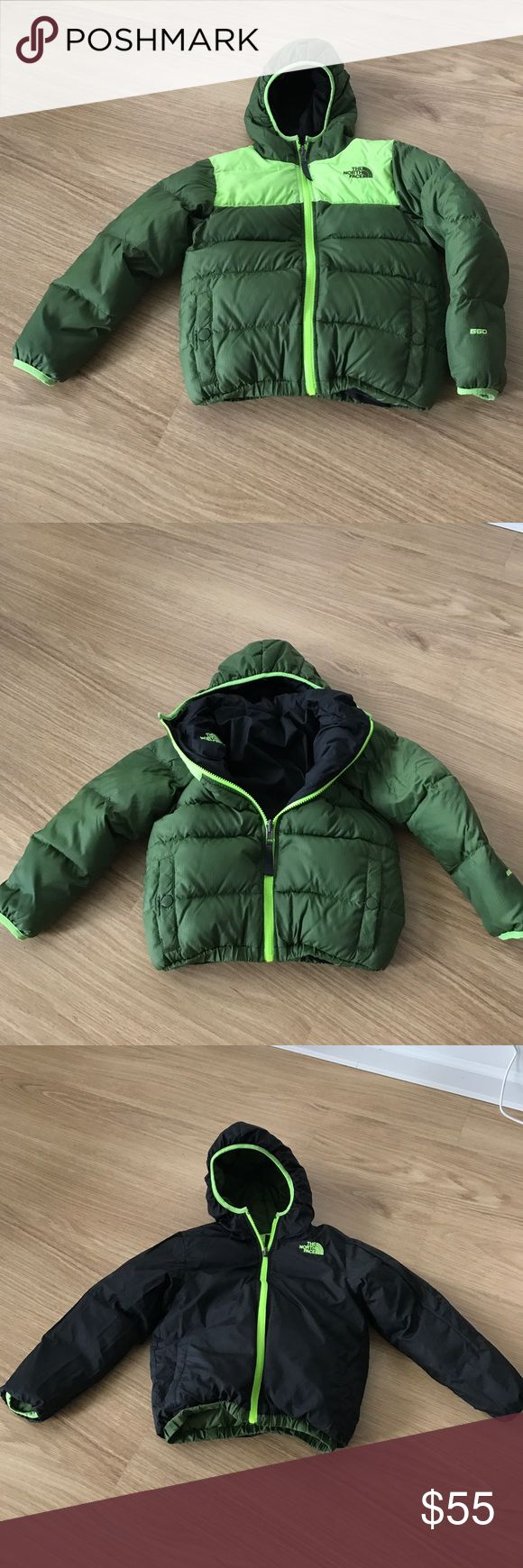 Boys THE NORTH FACE reversible 550 filer sz XS 6 Very gentle wear boy winter jacket THE NORTH FACE black / green green bright color filers 550 boys size XS TP (6) The North Face Jackets & Coats Puffers