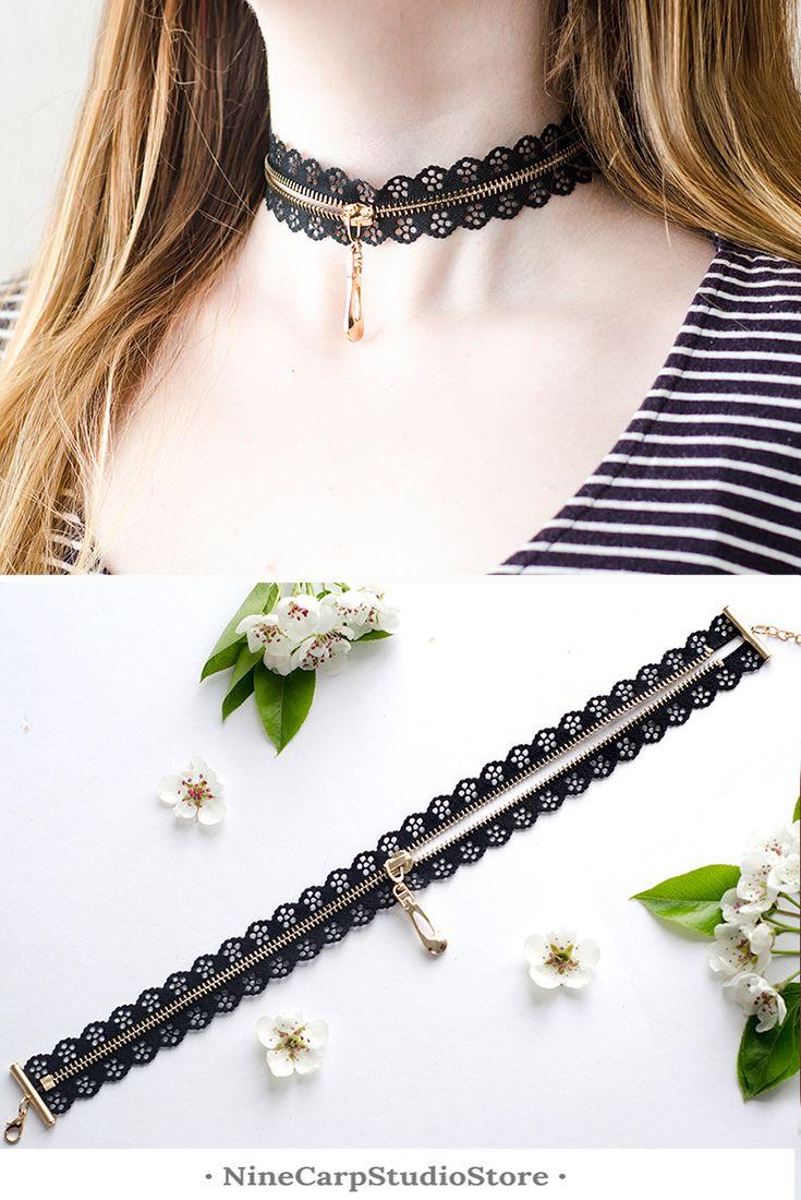 Original black chocker necklace for woman - NineCarpStudioStore #fashion #jewelry #choker