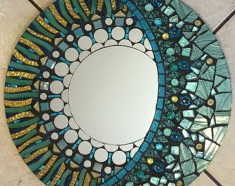 "24"" Stained Glass Mosaic Mandala Mirror Red Yellow Round large"