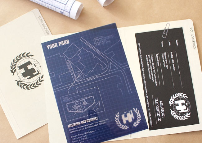 Mission Impossible themed invite