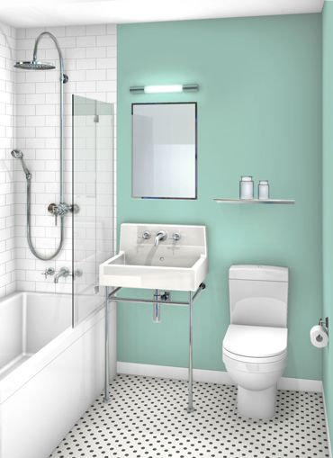 mint green bathroom with white tiles big shower head and black and white checked floor