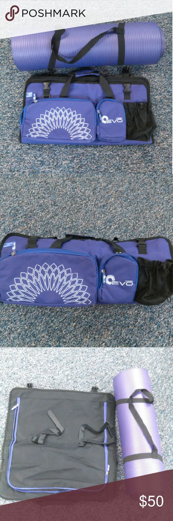 """Yoga mat & carrier EVO carrier for yoga mat, gym clothes etc... FLAMANT purple yoga/nap mat   Carrier: 3 external pockets & 1 bottle holder, adjustable double Velcro straps so you carry your mat.  Mat: approximately 5 1/2'  long x 2' wide x1/2"""" thick. Lightweight from nitrile/buna N rubber foam.  Non slip, purple. Great for Yoga, Pilate's or use for kids sleeping mat. Comes with strap carrier.  Used a few times -very clean Bags Totes"""