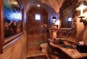 Mediterranean 3/4 Bathroom with Flush, Vessel sink, Signature Hardware Ballantine Wall-Mount Bathroom Faucet, Complex Granite