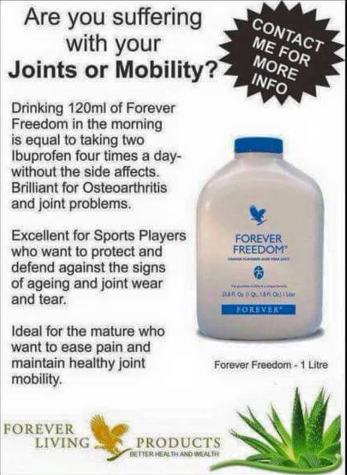 Forever Freedom is a unique formula available in an aloe drink from to maintain healthy joint function and flexibility.  Idea for sports and the mature who wish to maintain healthy joint function.