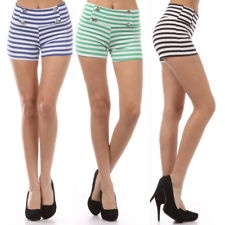 To pair with my swimsuit... SHORTS NAUTICAL STRIPED BUTTON SAILOR HIGH WAIST SOFT STRETCH SUMMER NEW TRENDY