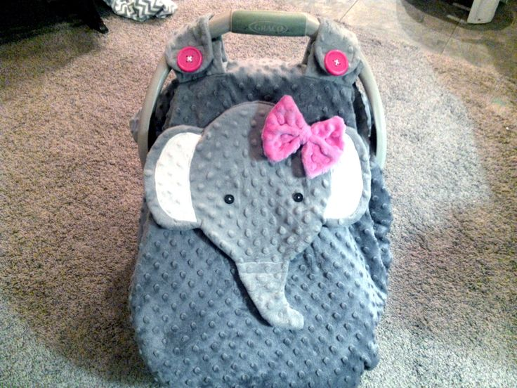 "Made to order  Gray Fitted Fleece Elephant Car Seat Canopy With Peek-A--Boo Opening "" Don't Like This I  Do custom Orders "" by lindasnd on Etsy"