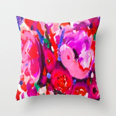 Beautiful Bright Pillow Cover- Pink Peony Painting Floral Print. Design from my original painting. Gorgeous pink, magenta, red, and violet