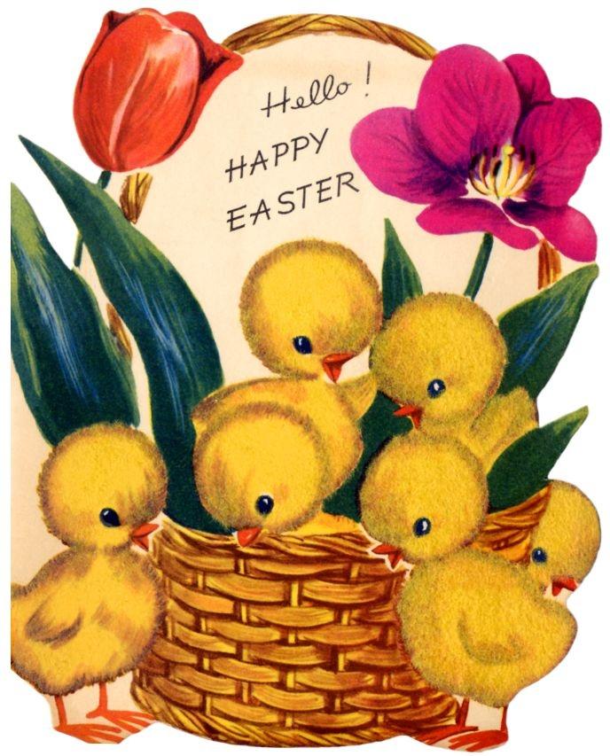 vintage easter card - darling basket of chicks