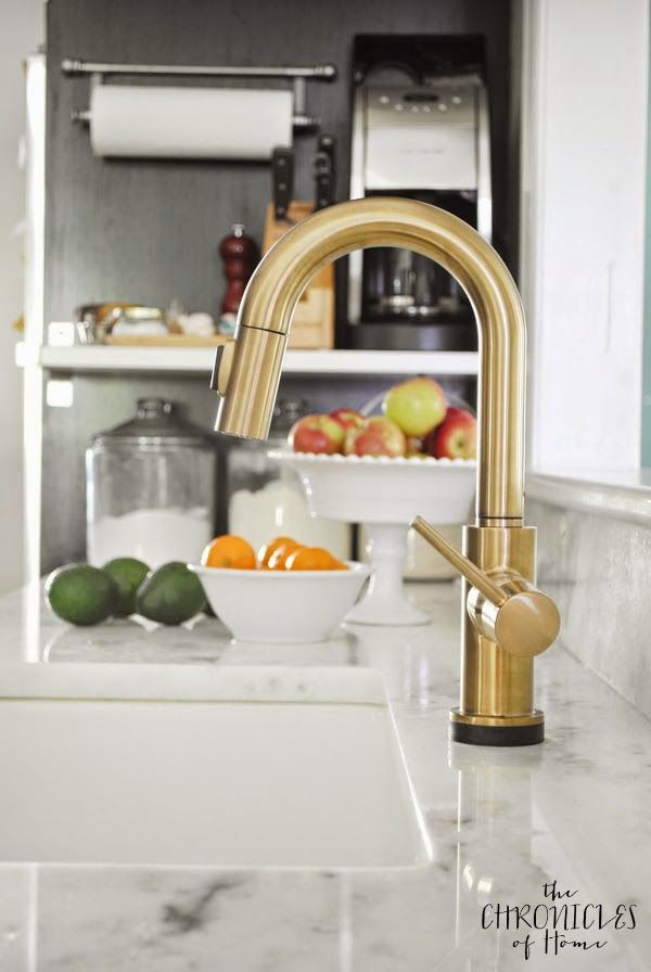Brushed gold kitchen faucet with touch on and off feature!