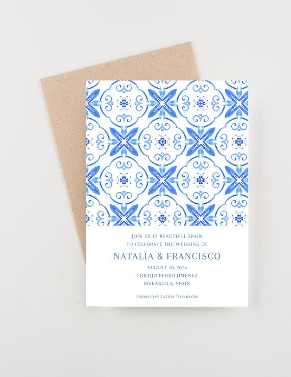 spanish tile save the date destination india bridal shower wedding invitation by seahorsebendpress on etsy - Wedding Invitations In Spanish