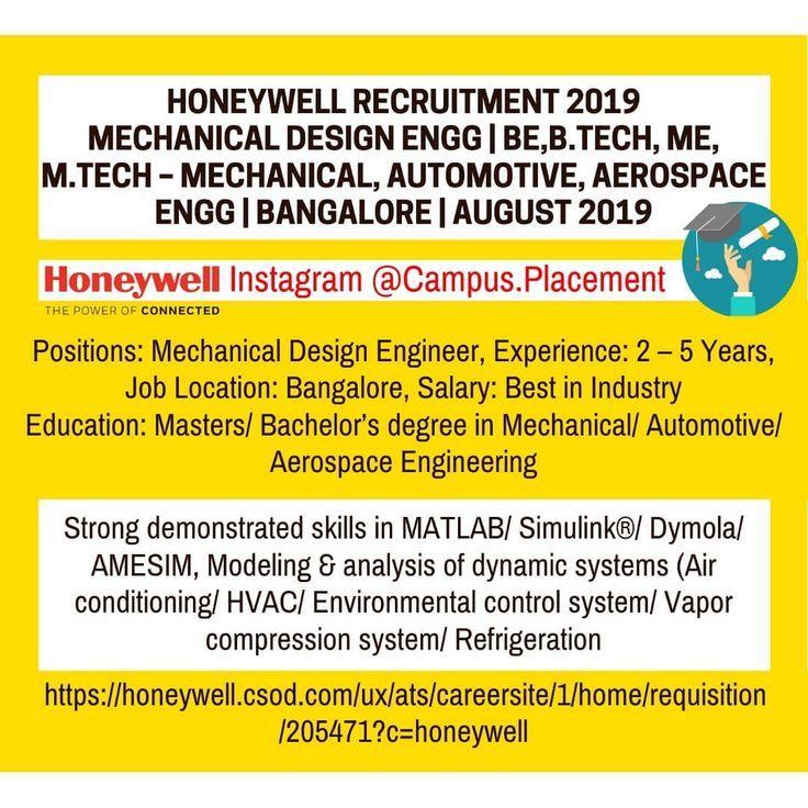 Honeywell Recruitment 2019 Mechanical Automotive Aerospace Automotive Job Ideas Of Automotive Job Automotivejob Ho Job Search Engineering