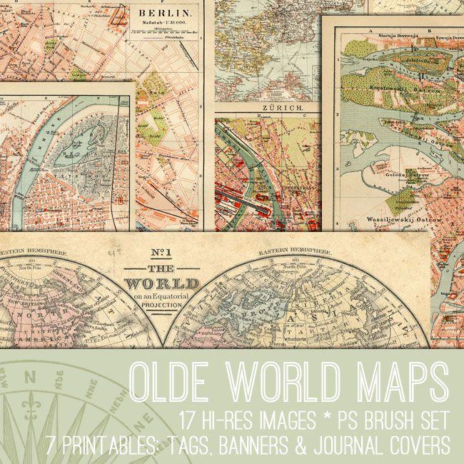 Olde World Maps Kit - TGF Premium! - The Graphics Fairy